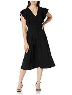 Women's Flutter Sleeve V-neck Midi With Button Front Detail Dress