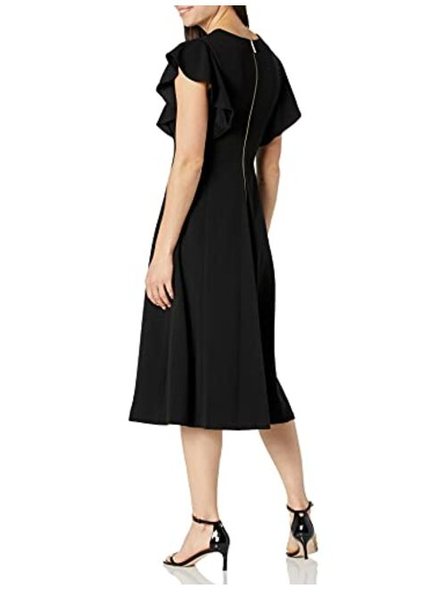 Calvin Klein Women's Flutter Sleeve V-Neck Midi with Button Front Detail Dress