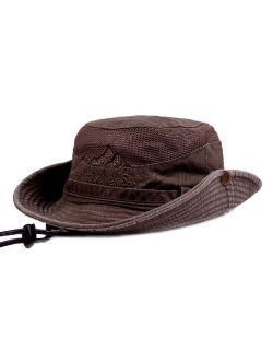 KeepSa Sun Hat for Men, Cotton Embroidery Summer Outdoor Sun Protection Wide Brim Bucket Hat Foldable Safari Boonie Hat