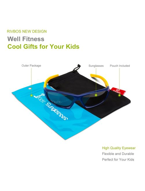 RIVBOS Rubber Kids Polarized Sunglasses With Strap Glasses Shades for Boys Girls Baby and Children Age 3-10 RBK003