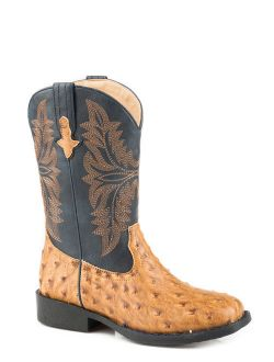 Roper Ostrich Boys Kids Navy/Tan Faux Leather Cool Cowboy Boots 11