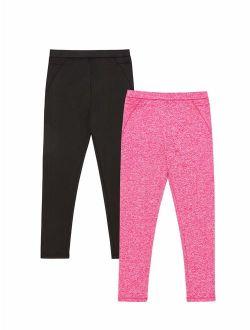 Climate Right Girls Plush Warmth Thermal Underwear Bottoms, 2 piece set (Little Girls & Big Girls)