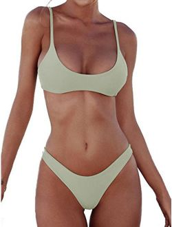 Sexy Womens Two Piece Strap Bikini Set Padded Swimsuit Top Triangle Bottom Bikini Swimsuit Bathing Suit