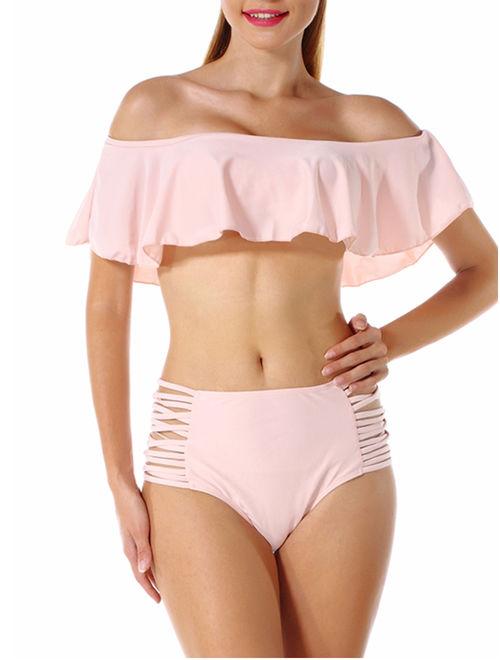 LELINTA Women Two Piece Swimsuit Set Off Shoulder Ruffled Flounce Crop Bikini Top with High Waist Cut Out Bottoms Swimwear Five Color