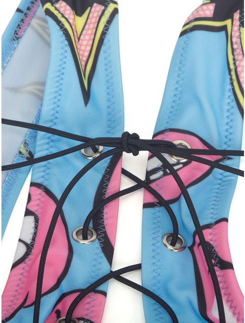LELINTA Womens Lace Up Bikini Set Cut Out Thong Swimwear Color Prints Swimsuit Bathing Suit