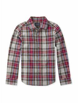 The Childrens Place Boys 4-16 Plaid Button Shirt