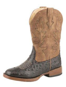 Roper Western Boots Boys Cowboy Cool Ostrich Brown 09-018-1900-1521 BR