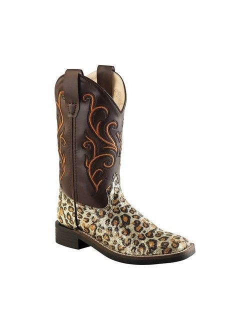 Old West Children All Over Leatherette Material Broad Square Toe Boots