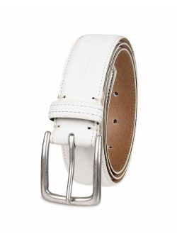 Men's Casual Leather Belt -trinity Style For Jeans Khakis Dress Leather Strap Silver Prong Buckle Belt, White, 36