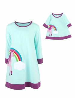 Kids & Toddler Dress Matching Doll & Girls Dress 100% Cotton Variety Of Styles (size 2-14 Years)