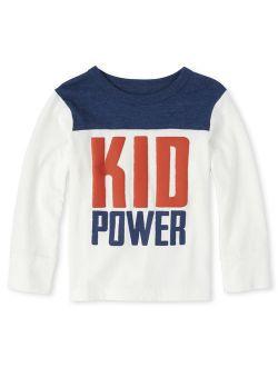 "Toddler Boy ""Kid Power"" Long Sleeve Shirt"