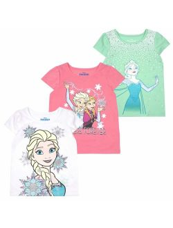 Girls 3-pack T-shirts: Wide Variety Includes Minnie, Frozen, Princess, Moana