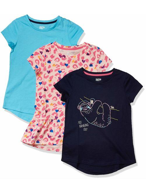 Amazon Brand - Spotted Zebra Girls' Toddler & Kids 3-Pack Short-Sleeve Tunic Tops