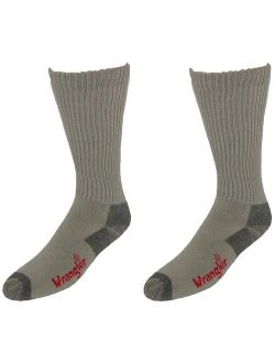 Size Large Mens Over the Calf Cotton Work Boot Sock (Pack of 2), Khaki