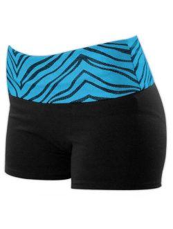Pizzazz 2350ZG -BLKTRQ-YXS 2350ZG Youth Roll-Down Waist Short, Black with Turquoise Zebra - Extra Small