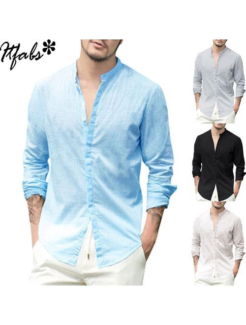 Mens Linen Long Sleeve V-neck Shirt Loose Casual Shirts Tops | Topofstyle