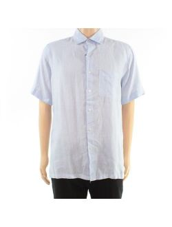 Mens Shirt Large Linen Cross Dyed Button Up L