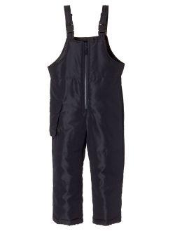 Sportoli Kids Water Resistant Snowboard Skiing Snowbib Snowpants Snow Bib Pants - Black (Size 3T)