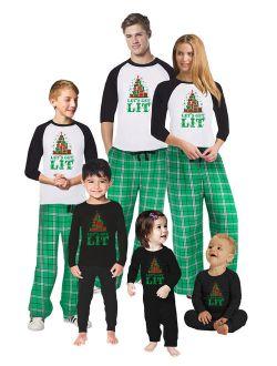 Matching Christmas Pajamas Set Green Let's Get Lit Family Sleepwear