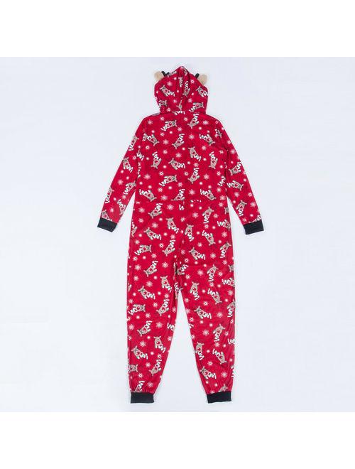 Multitrust Family Matching Mens Womens Kids Elk Christmas Pyjamas Nightwear Romper Zip Pajamas