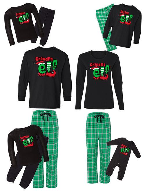 Awkward Styles Family Christmas Pajamas Set Green Funny Elfs Squad Matching Sleepwear