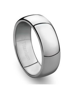 Cavalier Jewelers Wedding Band for Men - Women - 2MM/4MM/6MM/8MM Titanium Ring for Engagement, Promise, Anniversary