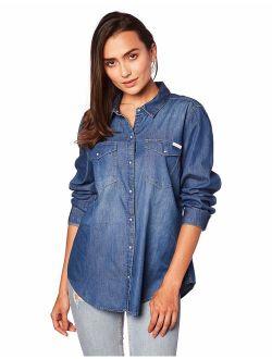 Jeans Women's Women's Long Sleeve Denim Button Down Shirt