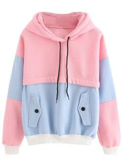 Womens Long Sleeve Colorblock Pullover Fleece Hoodie Sweatshirt Tops