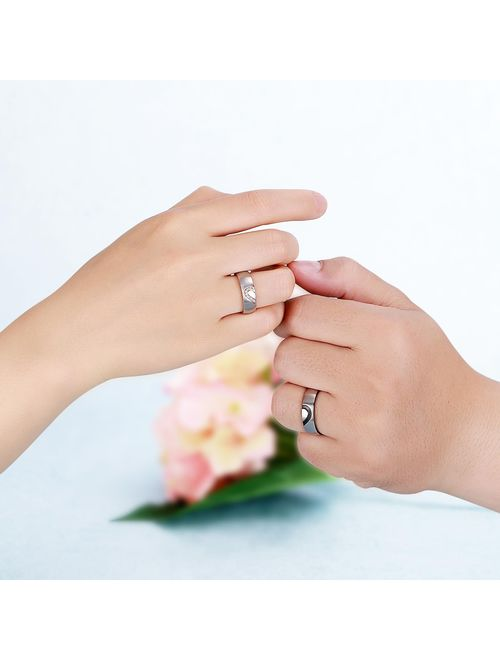 ANAZOZ Jewelry Couples Fashion Promise Rings Stainless Steel His and Hers Love Wedding Engagement