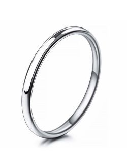 INBLUE Men,Women's Wide 2mm Engraved Stainless Steel Band Ring Silver Tone Wedding