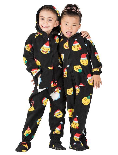 Footed Pajamas - Merry Emoji Xmas Toddler Hoodie Fleece Onesie