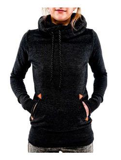 Begonia.K Women's Funnel Neck Hoodie Lightweight Pullover Hooded Sweatshirts