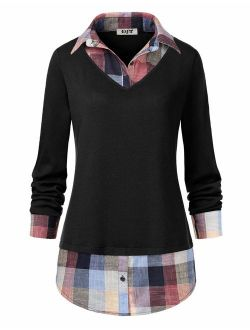 DJT Women's Contrast Plaid Collar 2 in 1 Blouse Tunic Tops