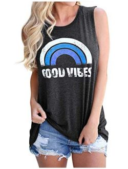 Hount Women's Good Vibes Rainbow Tank Tops Loose Fit Casual Sleeveless/Long Sleeve Tops Blouses Shirts
