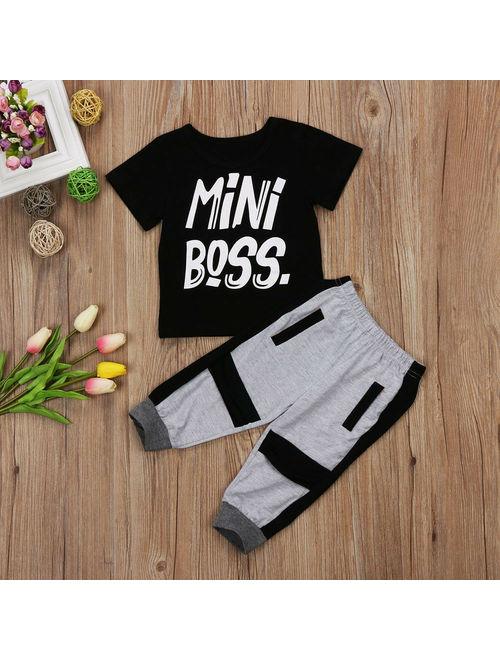 Fashion Toddler Kids Baby Boy Summer Mini Boss T-shirt Tops Pants Harem 2PCS Outfits Set Clothes 1-6T