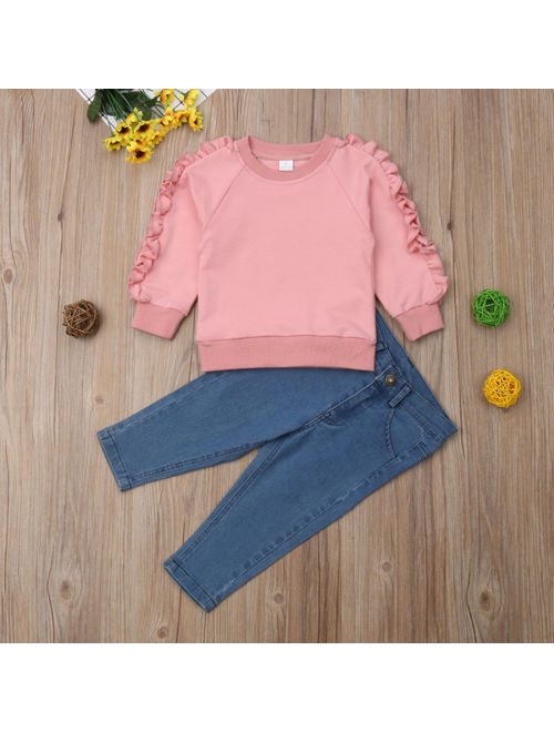 2PCS Toddler Kids Baby Girls Ruffle Tops Denim Pants Jeans Winter Outfits Clothes 1-6 Years