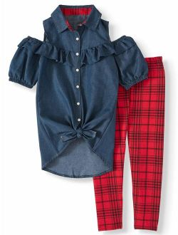 One Step Up Chambray Tunic and Legging Set, 2-Piece Outfit Set (Little Girls & Big Girls)