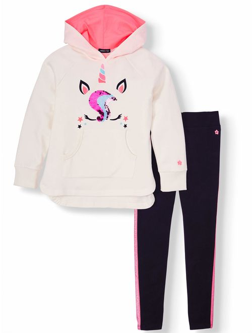 Limited Too Reversible Flip Sequin Unicorn Hoodie and Legging, 2-Piece Outfit Set (Little Girls & Big Girls)