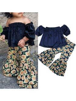 2PCS Toddler Kids Baby Girls Off Shoulder Crop Tops+Sunflower Print Pants Summer Outfits Clothes 1-2 Years