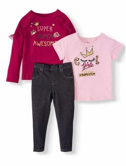 Mix &-match Graphic Tops And Jeggings, 3-piece Outfit Set (little Girls & Big Girls)