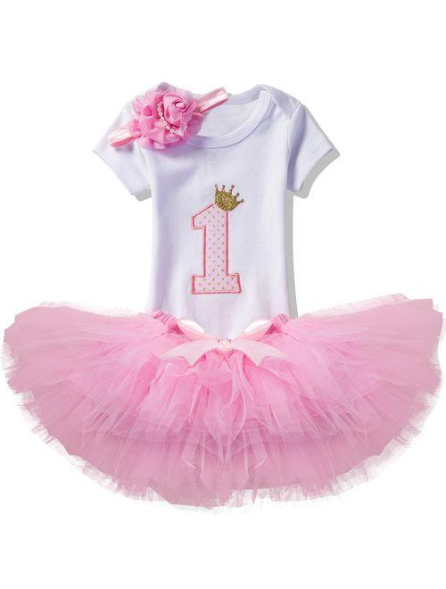 NNJXD Girl Newborn 1st Birthday 3 Pcs Outfits Romper+Tutu Dress+Headband