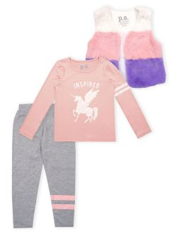 Faux Fur Vest, Long Sleeve Top And Legging, 3-piece Outfit Set (big Girls)