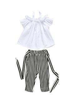 Toddler Kids Baby Girls Cute Strap Ruffle Vest Tank Tops+Stripe Long Pants 2Pcs Outfits Clothes Set