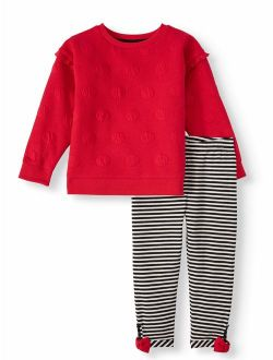 Double Knit Pullover Top & Bow Trim Leggings, 2 Piece Outfit Set (toddler Girls)
