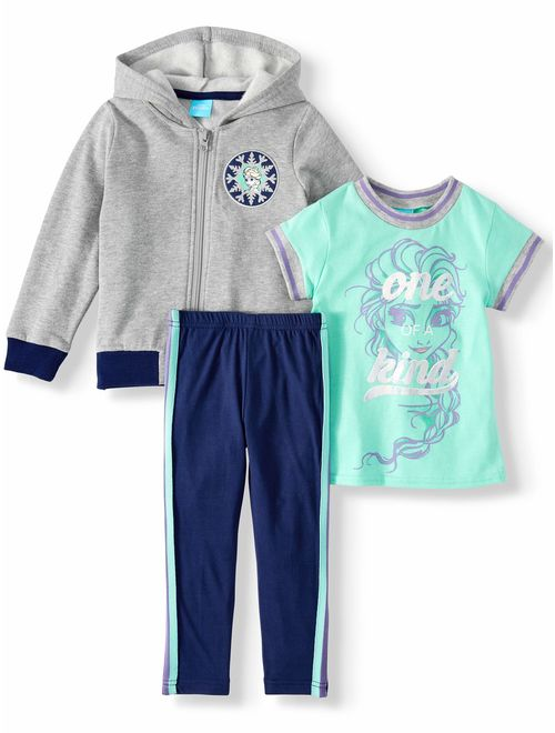 Disney Frozen Elsa Toddler Girl Zip-Up Hoodie, Short Sleeve T-shirt & Leggings, 3pc Outfit Set