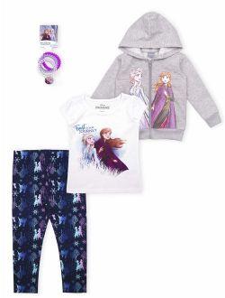 Frozen 2 Anna Elsa Toddler Girl Hoodie, T-shirt, Leggings & Hairties, 4pc Outfit Set