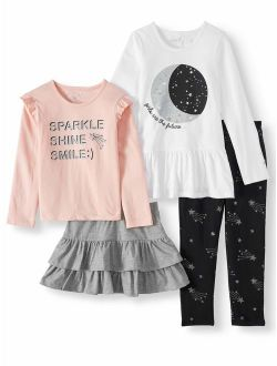 Freestyle Revolution Toddler Girl Mix & Match Long Sleeve Tops, Ruffle Skirt & Leggings, 4pc Outfit Set