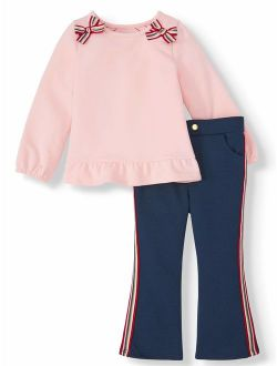 Peplum Top & Racer Stripe Ponte Pants, 2pc Outfit Set (toddler Girls)