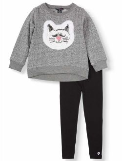 Fleece Kitty Top And Solid Leggings, 2pc Outfit Set (toddler Girls)