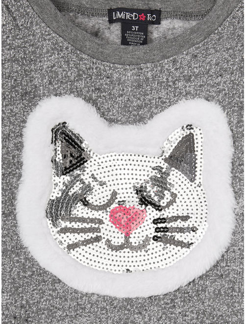 Limited Too Fleece Kitty Top and Solid Leggings, 2pc Outfit Set (Toddler Girls)
